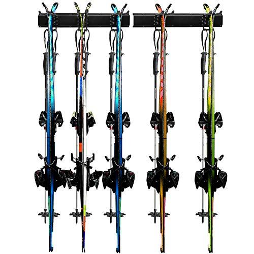 Odoland - Estante de esquí, 5 Pares de esquís y Tablas de Snowboard, Montaje en Pared, para el hogar y el cochera, Soporte de Pared para esquí, soporta hasta 136 kg