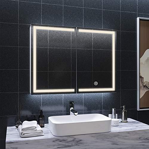 DICTAC spiegelschrank Bad mit LED Beleuchtung und Steckdose 80x13.5x60cm Metall badspiegel mit 3 Farbtemperatur dimmbare mit Beleuchtung Berührung Sensorschalter,Hängeschrank,badschrank mit Spiegel