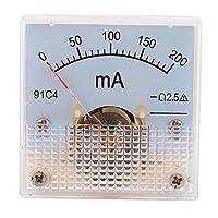 uxcell アナログ電流計 プラスチック 金属 DC 0-0.2A 9691C4 ホワイト グレー 42 x 42mm