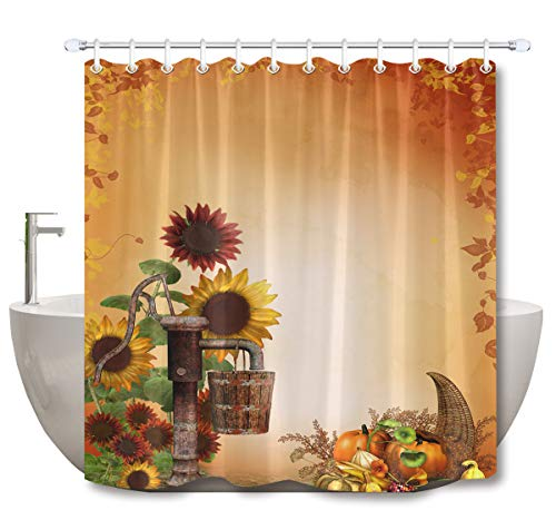LB Rustic Sunflower Fall Thanksgiving Stall Shower Curtain, Autumn Country Farm Pumpkin Background Harvest Bathroom Curtain Polyester Fabric Waterproof with Hooks,70x70 Inch