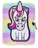 FRINGOO - Diario de peluche para niñas y niños, tamaño A5, 3D, con candado y marcapáginas, diseño de unicornio, 80 páginas (unicornio blanco)