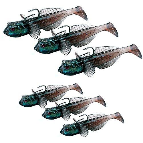 Wurmbaden 3 Gummifische Raubfisch Forellen Hecht Köder Koppe Groppe Gummifisch Kunstköder (08 cm)