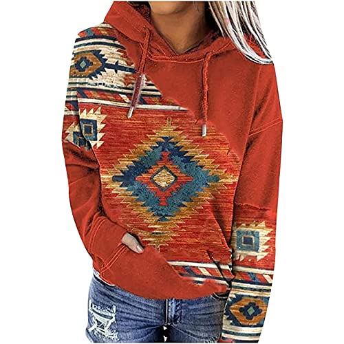 Womens Casual Ethnic Style Hooded Sweatshirt Geometric Horse Print...