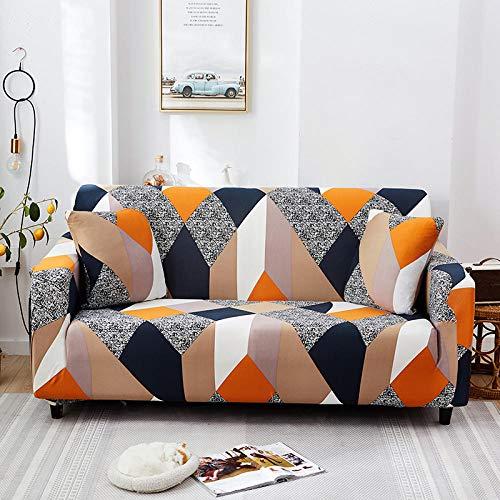Funda de Sofá Elástica En Forma De L Impermeable 1/2/3/4 Plazas Ajustables Antimanchas Antideslizante Protector Cubierta Sofa Muebles con 2 Funda de Almohada-Cubo De Rubik_4 Plazas (235-300Cm)