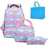 Rucksack Mädchen Teenager Schulrucksack Damen Schultasche Rucksack Schule Teenager Mädchen Meerjungfrau Rucksack mit Handtasche Tasche und Lunch Bag Blau