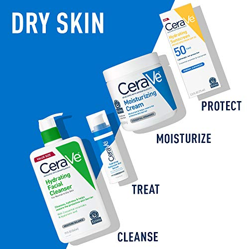 CeraVe Hydrating Facial Cleanser Moisturizing Non-Foaming Face Wash with Hyaluronic Acid, Ceramides and Glycerin, Unscented, 19 Fl Oz