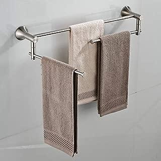VADOLY Nickel Brushed Bathroom Folding Wall Mounted Bathroom Towel Rail Holder Storage Rack Shelf Bar Hanger Double Handles Towel Rack