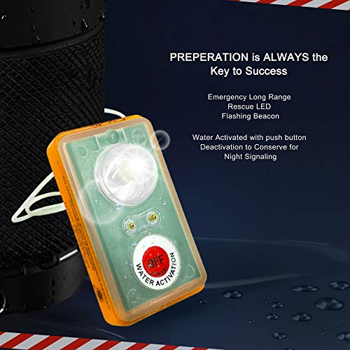 WICKED Life Jacket Strobe Light (4EA) for Man Overboard Survival Vest; Water Activated, High Intensity Beam Locator, Emergency Long Range Rescue LED Flashing Beacon