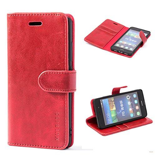 Mulbess Funda Huawei P8 Lite 2015 [Libro Caso Cubierta] [Vintage de Billetera Cuero de la PU] con Tapa Magnética Carcasa para Huawei P8 Lite 2015 Case, Vino Rojo