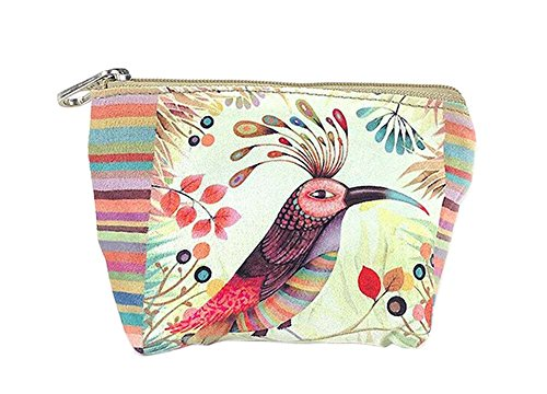 Créatif et oiseau coloré toile sacs cosmétique/bourse