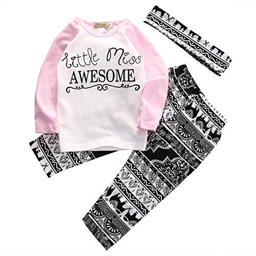 Anaike Conjunto de ropa para bebés y niñas, camisetas+pantalones largos con lazo para la cabeza, rosa, 2-3 Años