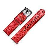 TW Steel Marc Coblen - Correa de reloj de piel con cierre negro de 22 mm, Color rojo cocodrilo., Correas.