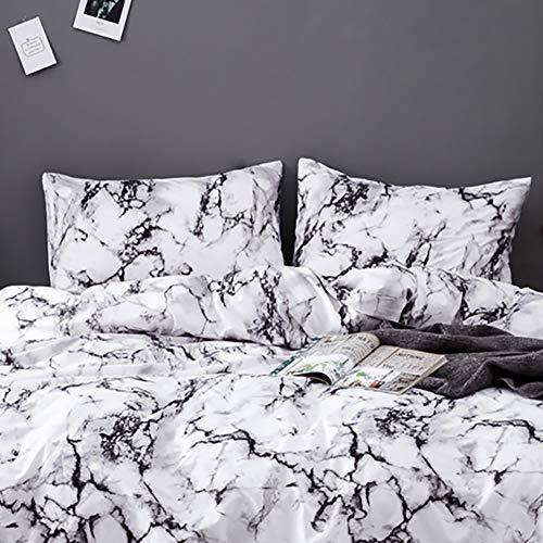 AShanlan 2er Set Kissenbezug Kissenbezüge 40 x 80 cm Schwarz Weiß Grau Marmor Muster 100% Microfaser Kopfkissenbezug 40x80 Kissenhülle Doppelpack