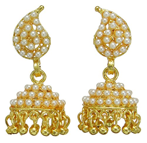 Banithani Goldtone etnico indiano donne tradizionali designer Jhumka orecchino set di gioielli, Lega, colore: Gold, cod. BSE7020A