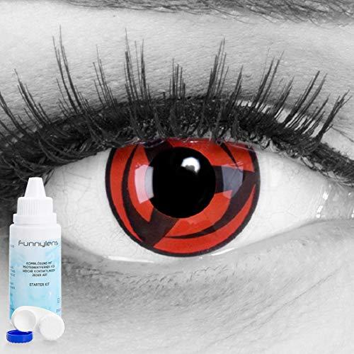 Meralens A0481 Kakashi Kontaktlinsen mit 60ml Pflegemittel mit Behälter ohne Stärke. Perfekt zu Fasching, Halloween und Cosplay 1er Pack (1 x 2 Stück)