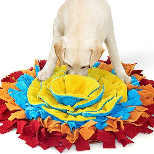 AWOOF Alfombra Olfativa Perros Snuffle Mat, Forma de Flor Comedero Olfativo Manta Olfativa Perro Snuffle Mat, Alfombrilla de Entrenamiento Interactivo para Perros Pequeños y Medianos(Rojo)