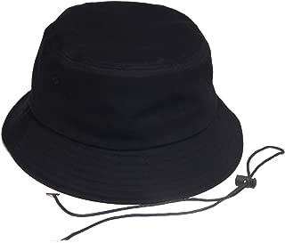 Cotton Bucket Hat Boonie Hat Wide Brim Fishing Hat Casual Plain Cap with Detachable Rope,Black,62cm