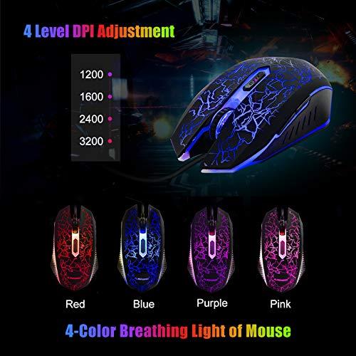 FLAGPOWER Rainbow LED Backlit Gaming Keyboard and Mouse Combo With 3 adjustable LED backlight