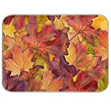 Toprint Colorful Autumn Maple Leaves Dish Drying Mat for Kitchen Counter Fall Absorbent Washable Drying Pad Countertop Dishes Drainer Mats and Protector Coffee Bar Mats 16x18 inch
