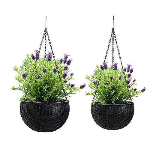 YCOCO Hanging Planters Self Watering with Drain Holes and Chain,Hanging Plant Holder Flower Pots Indoor Outdoor,Set of 2 Sizes,Black
