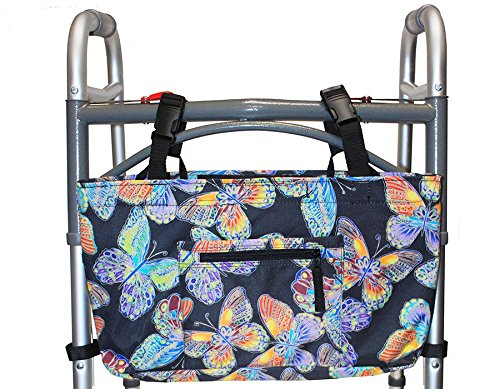 RMS Walker Bag with Soft Cooler  Water Resistant Tote with Temperature Controlled Thermal Compartment Universal Fit for Walkers Scooters or Rollator Walkers Vivid Butterfly