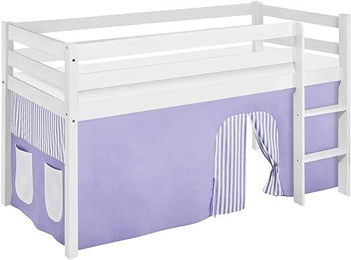 LiloEnfants JELLE Lit de Jeu avec Rideaux et sommier à Lattes Violet Beige 90 x 190 cm