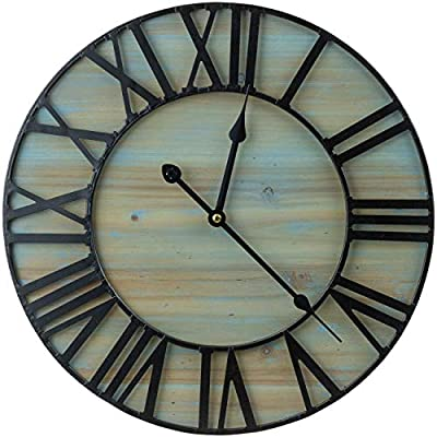 """Sorbus Large Decorative Wall Clock, 16"""" Round Centurion Roman Numeral Hands, Coastal Beach, Big Farmhouse Rustic Vintage Modern Style Home Decor Ideal for Living Room, Analog Wood Metal Clock"""