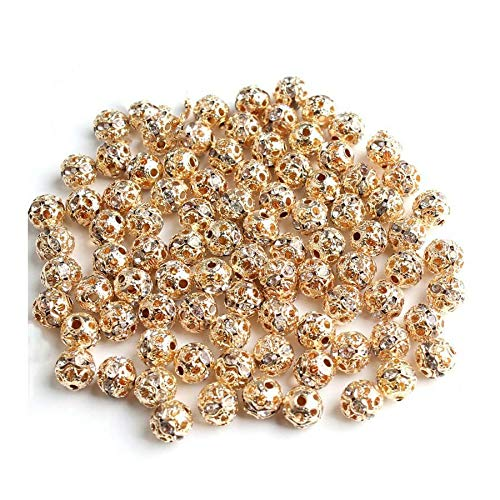 HONGTAI Metal Plated Crystal Rhinestone Ball Spacer Loose Beads Bracelet Necklace (Color : 14K Gold 8mm)