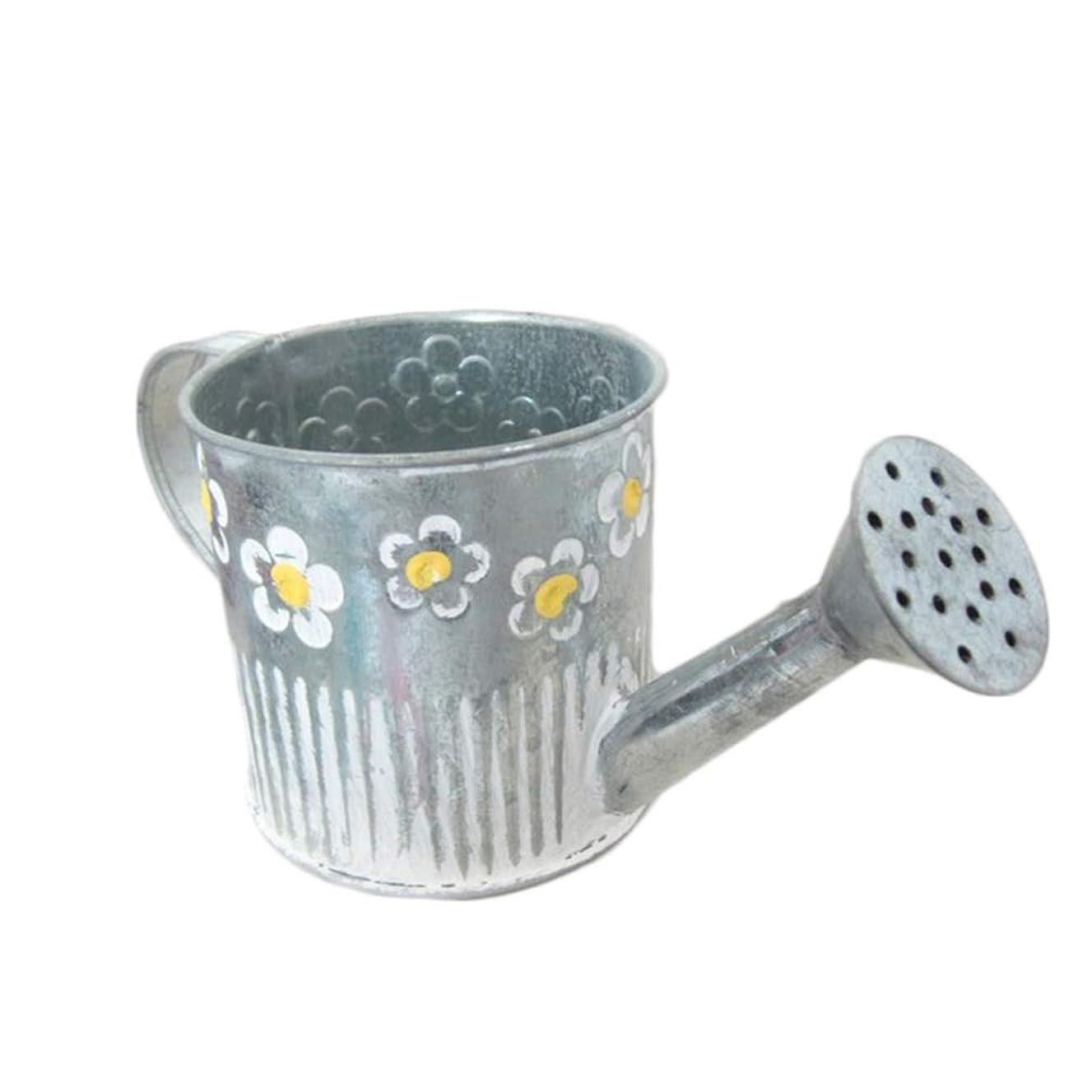 無傷バッフル住人BESPORTBLE Metal Planters Bucket Watering Pot Shaped Flower Holder Container Art Craft Tabletop Flower Vase for Home Office
