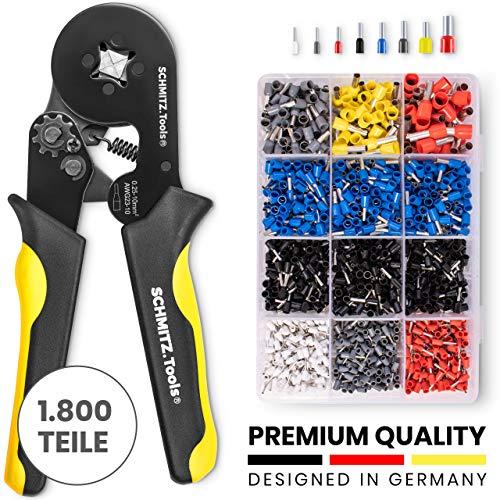 Crimpzange Aderendhülsen Sortiment [1800 Stück] SCHMITZ.Tools® - Aderendhülsen Zange [0,25– 10mm2] - Krimpzange - Crimpers - Crimpzange Set - Presszange - Elektrowerkzeug - Aderendhülsenzange