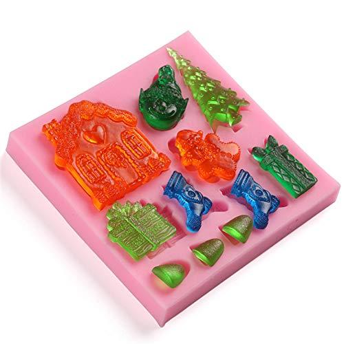 Fewear Molde de silicona con forma de campanas de alce de muñeco de nieve para fondant de la serie de Navidad, molde de dulces, gelatina de bricolaje, decoración de tartas de