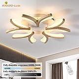LED-Deckenleuchte Holz, Dimmbar Wohnzimmer-Lampe, Modern Deko Wohnzimmerlampe, Blume-Form Schlafzimmer Leuchte Deckenlampe, Decken Licht 50W mit Fernbedienung, Ø70CM Weiß Acryl Lampenschirm Holzlampe