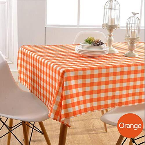 Nappe de tablePetite nappe carrée Tissu de table à manger en polyester imperméable et résistant à l'huile,orange,130cm*180cm