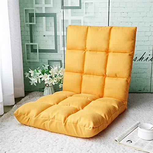 WENYAO Barhocker Bodencouch, Faltbarer gepolsterter Bodenstuhl mit Verstellbarer Rückenlehne Dickes Sitzkissen Lazy Lounge Sofa, Gelb