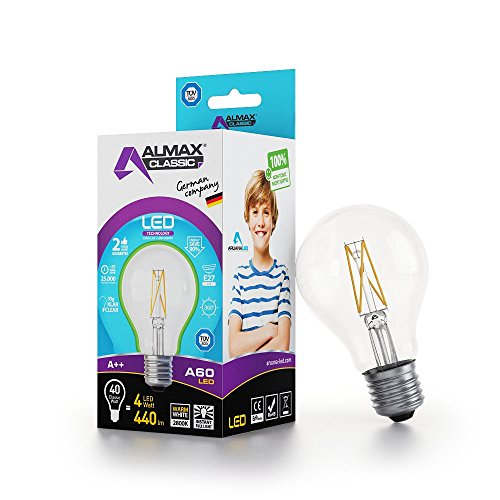 ARUANA LED GMBH INTERNATIONAL 0041 LED Birne A60, E27, clear, 4W 220-240 V, 500 lm, 2800 K, Weiß, 1
