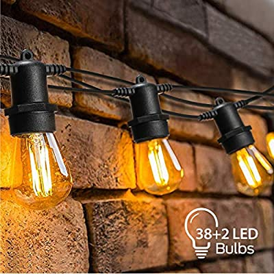 OxyLED LED Outdoor String Lights with 38+2 1W Vintage S14 Bulbs, 128 Ft Hanging Plastic Bulb String Lights Waterproof, Garden String Lights for Indoor Bedroom Patio Backyard Wedding Party Christmas