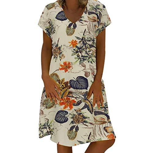 WUSIKY Leinenkleid Damen Sommerkleid GroßE GrößEn Kaftan Kleid Sommer V-Ausschnitt Langes Partykleid Boho Strandkleid Maxikleid Elegant Sommerkleider Damen Leinenkleider (Beige, XXL)