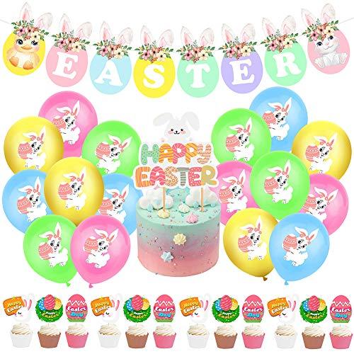 SZWL Oster Luftballons Deko,12 Zoll Latex Ballons Helium, Kuchendeckel, Easter Banner,Themen partydekoration für Baby Kind,26stück