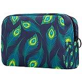 Cosméticos bolsa de aseo bolsas de viaje bolso de negocios impermeable verde pavo real pluma patrón 18.5x7.5x13cm