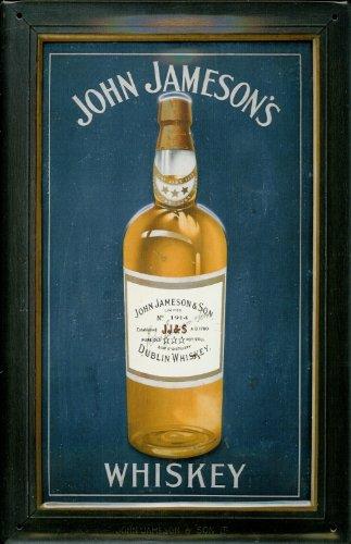 Buddel-Bini Versand Blechschild Nostalgieschild John Jameson Whiskey Flasche blau Whisky