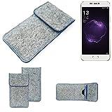 K-S-Trade Handy Schutz Hülle Für Allview X4 Soul Style Schutzhülle Handyhülle Filztasche Pouch Tasche Hülle Sleeve Filzhülle Hellgrau, Blauer Rand