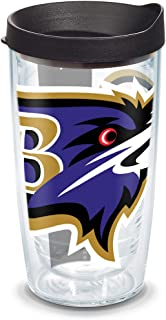Tervis 1085011 NFL Baltimore Ravens Colossal Tumbler with Wrap and Black Lid 16oz, Clear