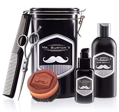 Mr.Burton's Juego de Cuidado de Barba de Alemania–Incluye aceite, Cepillo, Tijeras y peine–como regalo de cumpleaños para hombres