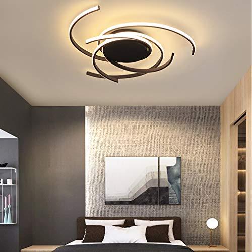 Lámpara de techo moderna, de metal y acrílico negro, con control remoto, color blanco natural y blanco cálido, intensidad regulable, 3000 K-6000 K, diseño geométrico, para cocina, LED, montaje empotrado, máx. 72 W, acabado pintado, Moderno, Negro