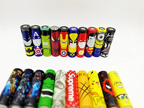 10PCS 18650 Battery Sleeves / Wraps, Tubos de PVC termocontraíbles Tubos de 29 mm 100% Auténtico Tapa precortada Batería Piel retráctil Héroes Skin Cover de reemplazo Héroes, diseño aleatorio y color