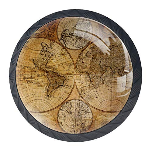 TYUI Drawer Handgrepen 4 Pack Room Decor Deur Trekken Meubelhandvat met Oude Kaart van de Globe
