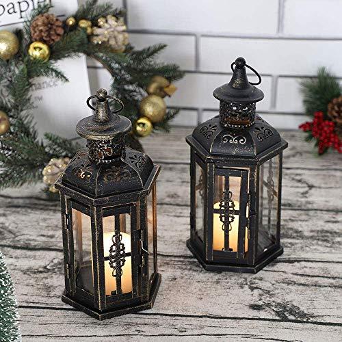 JHY DESIGN Set Di 2 Lanterne Decorative-25 Cm Alto Stile Vintage Lanterna Sospesa, Portacandele In Metallo Per Interni, Eventi, Feste E Matrimoni (Nero Con Pennello Dorato)