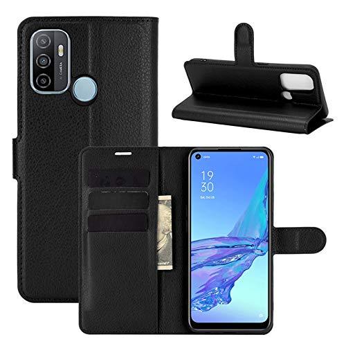 betterfon   Oppo A53s / A53 2020 Hülle Handy Tasche Handyhülle Etui Wallet Hülle Schutzhülle mit Magnetverschluss/Kartenfächer für Oppo A53s Schwarz
