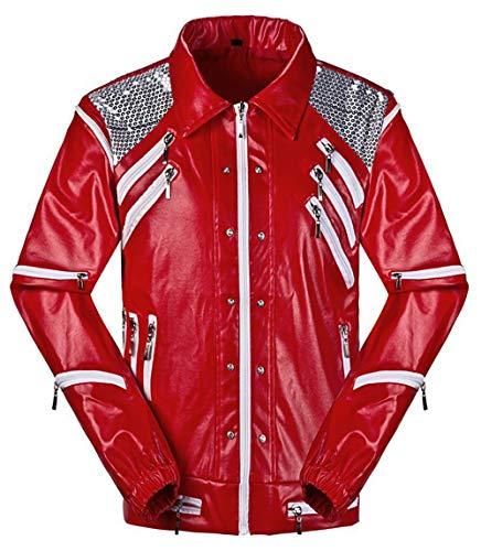 guangmu Kostüme für Michael Jacksons Tanz Rot Thriller Jacken Unisex Mäntel Erwachsener Kind Halloween Christmas Musical Dance Masquerade Rollenspiele Kostüme (Höhe: 155-160cm, Weißer Streifen)