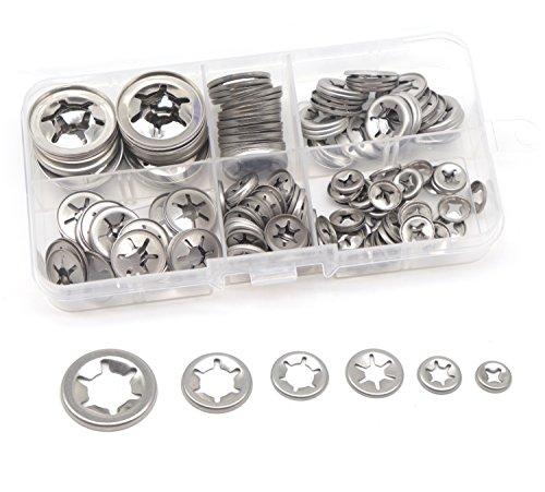cSeao 150pcs 304 Stainless Steel Starlock Internal Tooth Push On Locking Washers Assortment Kit, M3/ M4/ M5/ M6/ M8/ M10/ M12